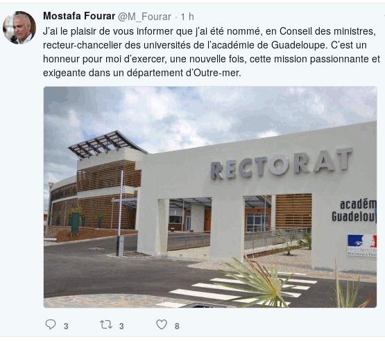 MOSTAFA FOURAR, Nouveau recteur de l'académie de Guadeloupe