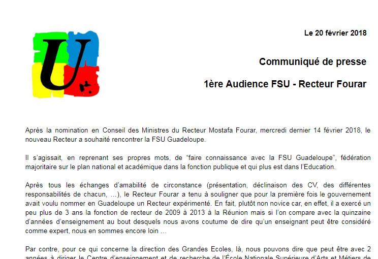 Communiqué de presse 1ère Audience FSU – Recteur Fourar