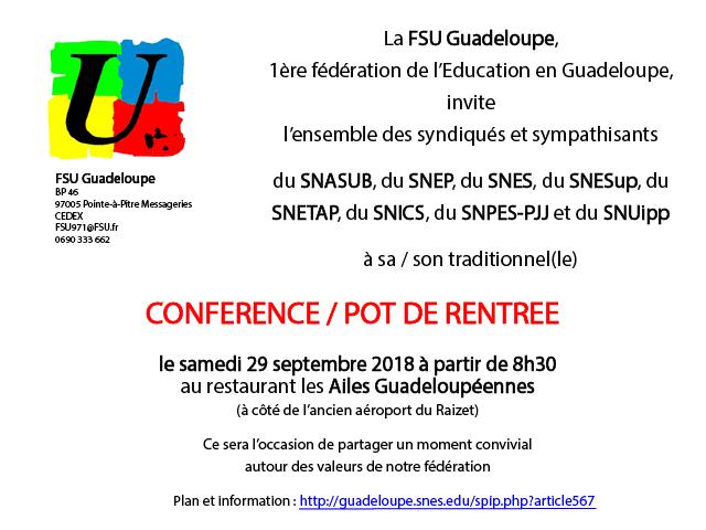 FSU : Pot de rentrée 2018 aux Ailes Guadeloupéennes