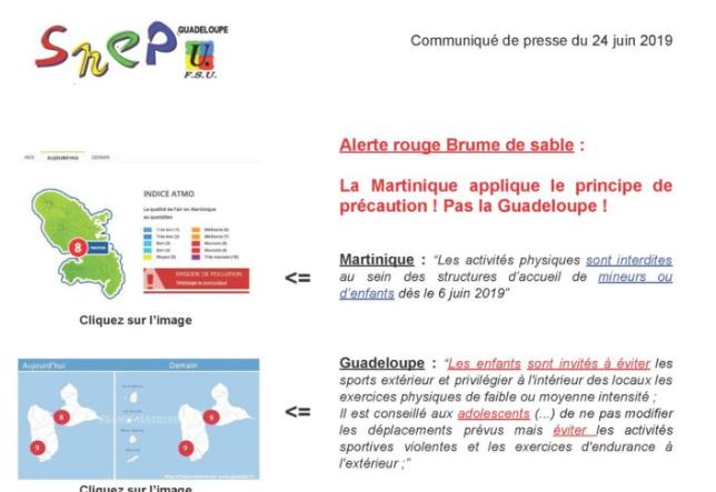 CP SNEP-FSU Guadeloupe, Alerte rouge Brume de sable : La martinique applique le principe de précaution ! Pas la Guadeloupe !